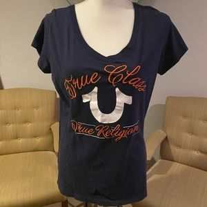 True Religion navy blue and orange T-shirt sz XL